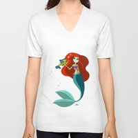 little mermaid V-neck T-shirts featuring Little Mermaid by Kaori
