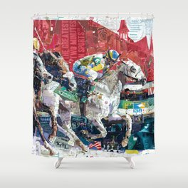 Abstract Race Horses Collage                                         Shower Curtain