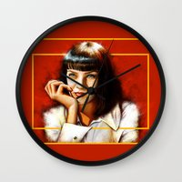 mia wallace Wall Clocks featuring Mia Thurman by Shana-Lee