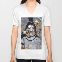 hindu V-neck T-shirts featuring Hindu mural by Rick Onorato