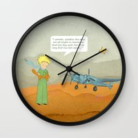le petit prince Wall Clocks featuring  Le Petit Prince  by Ia Re