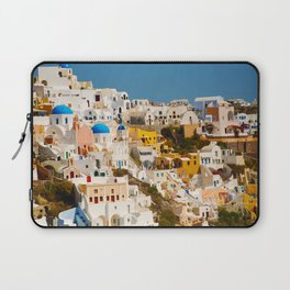 Colorful Seaside Santorini Island Homes Laptop Sleeve