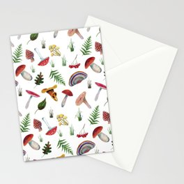 Mushrooms, leaves, grass, mountain ash. Drawn with colored pencils. Stationery Cards
