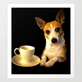 Tea Time with Puppy Art Print