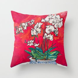 Orchid in Chinoiserie Bird Pot on Pink, Coral and Red Background Floral Still Life Painting Matisse Throw Pillow