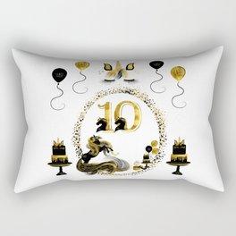 Pretty Golden Unicorn Birthday Girl 10 Years Born 2008 Rectangular Pillow