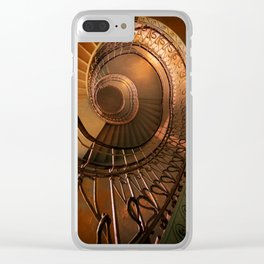 Golden spiral stairs Clear iPhone Case