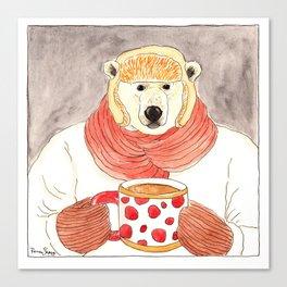 Polar Bear Drinking Hot Chocolate Canvas Print