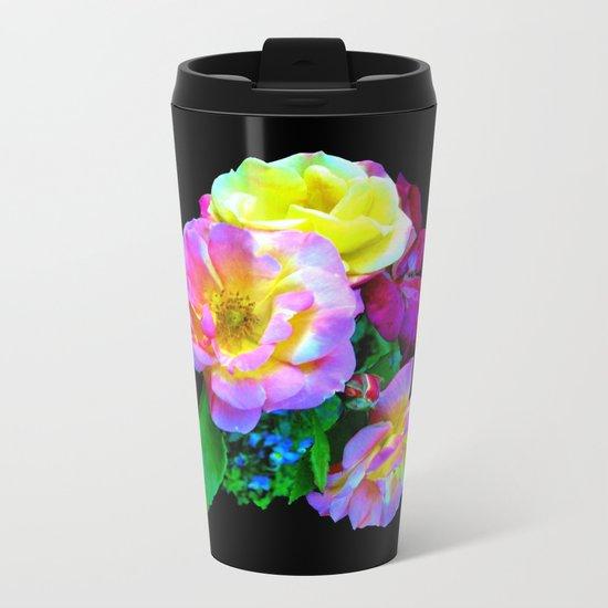Rosa Yellow Roses on Black Metal Travel Mug