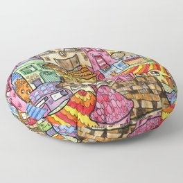 Suburbia watercolor collage Floor Pillow