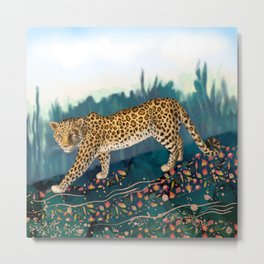 The Amur Leopard in the Woodlands Metal Print