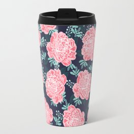 Peony Flowers navy pink and white modern colors for office home or college dorm decor Travel Mug