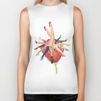 shoe Biker Tanks featuring Shoe Love by Wendy Ding: Illustration