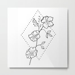 Wildflower in Stippled Diamond Illustration Metal Print
