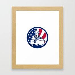 American Artisan Cheese Maker USA Flag Icon Framed Art Print