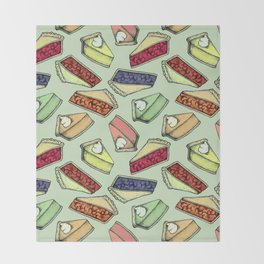 Easy As Pie - cute hand drawn illustrations of pie on sage green Throw Blanket
