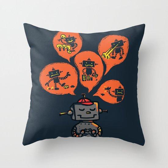 When I grow up - an evil robot dream Throw Pillow