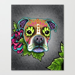 Boxer in White Fawn - Day of the Dead Sugar Skull Dog Canvas Print
