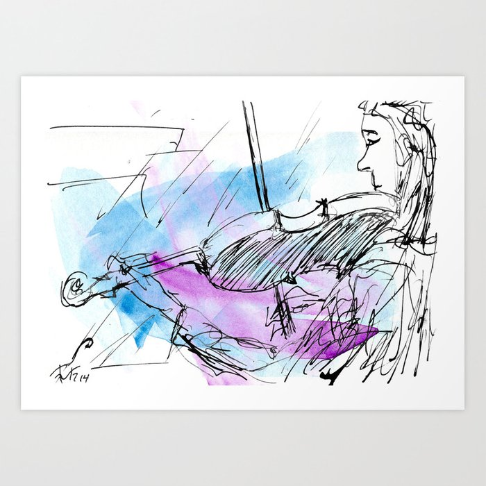 Violin in two tones II Art Print