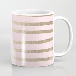 Drawn Stripes White Gold Sands on Flamingo Pink Coffee Mug