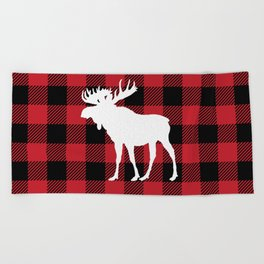 Red Buffalo Plaid Moose Beach Towel
