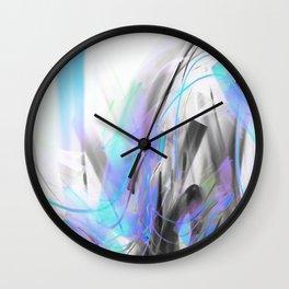Future Blue Glitch Waves Wall Clock