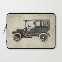Vintage retro car hatching hand drawing. Green antique automobile over hatched background. Laptop Sleeve