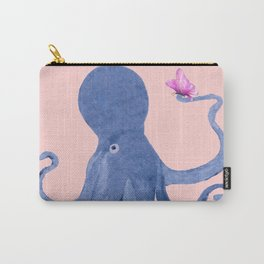 Blue Octopus and Butterfly Carry-All Pouch
