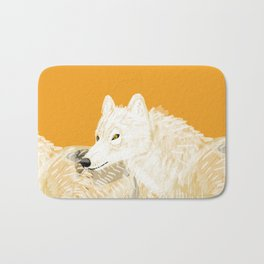 Totem white wolf nubilus Bath Mat
