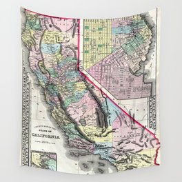 1872 Map of California and San Francisco Wall Tapestry