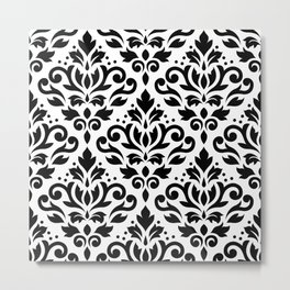 Scroll Damask Big Pattern Black on White Metal Print