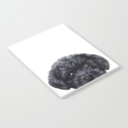 Black toy poodle Dog illustration original painting print Notebook