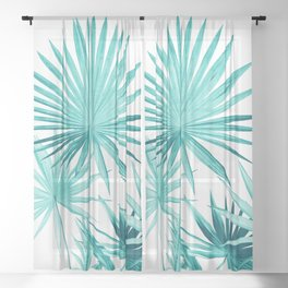 Fan Palm Leaves Jungle #3 #tropical #decor #art #society6 Sheer Curtain