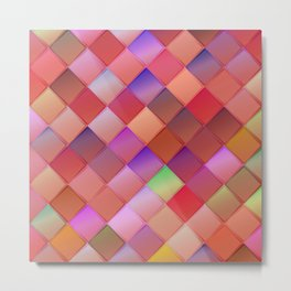 Pattern with pink squares.Trendy hipster print. Modern graphic design. Metal Print