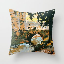 Bretagne et Normandie, French Travel Poster Throw Pillow
