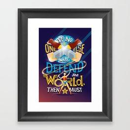 Defend your world v2 Framed Art Print