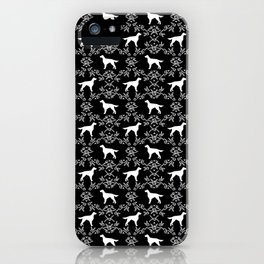 Irish Setter floral dog breed silhouette minimal pattern black and white dogs silhouettes iPhone Case