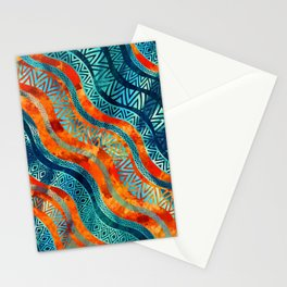 Wavy Tribal  Ethnic Boho Pattern Stationery Cards
