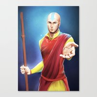 aang Canvas Prints featuring Avatar Aang by Meder Taab