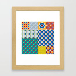 Moroccan pattern, Morocco. Patchwork mosaic with traditional folk geometric ornament. Tribal orienta Framed Art Print