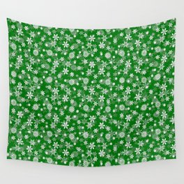 Festive Green and White Christmas Holiday Snowflakes Wall Tapestry