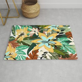 Multiple Color Butterfly Floral Pattern Rug