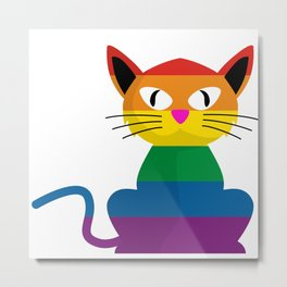 Rainbow Pride Cat - Lesbians Eat What?  Metal Print