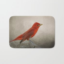 Song of the Summer Tanager 2 - Birds Bath Mat