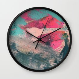 Sugar Rush [3]: a colorful, abstract mixed media piece in pinks, blues, and gold Wall Clock