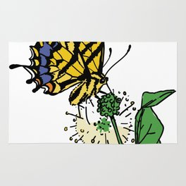 Tiger Swallowtail Butterfly Illustration Rug