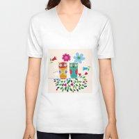 owls V-neck T-shirts featuring owls by Marianna Jagoda