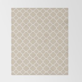 Clover Quatrefoil Pattern: Beige Throw Blanket