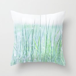 Field of grass in a fresh spring morning Throw Pillow