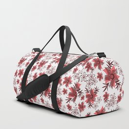 Red flowers on a white background. Duffle Bag